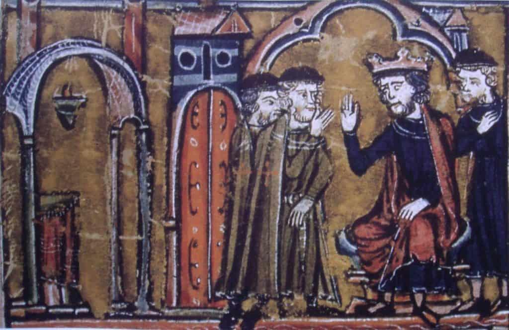 Boudewijn II in gesprek met Hugo de Payns en Godfried van St-Omer