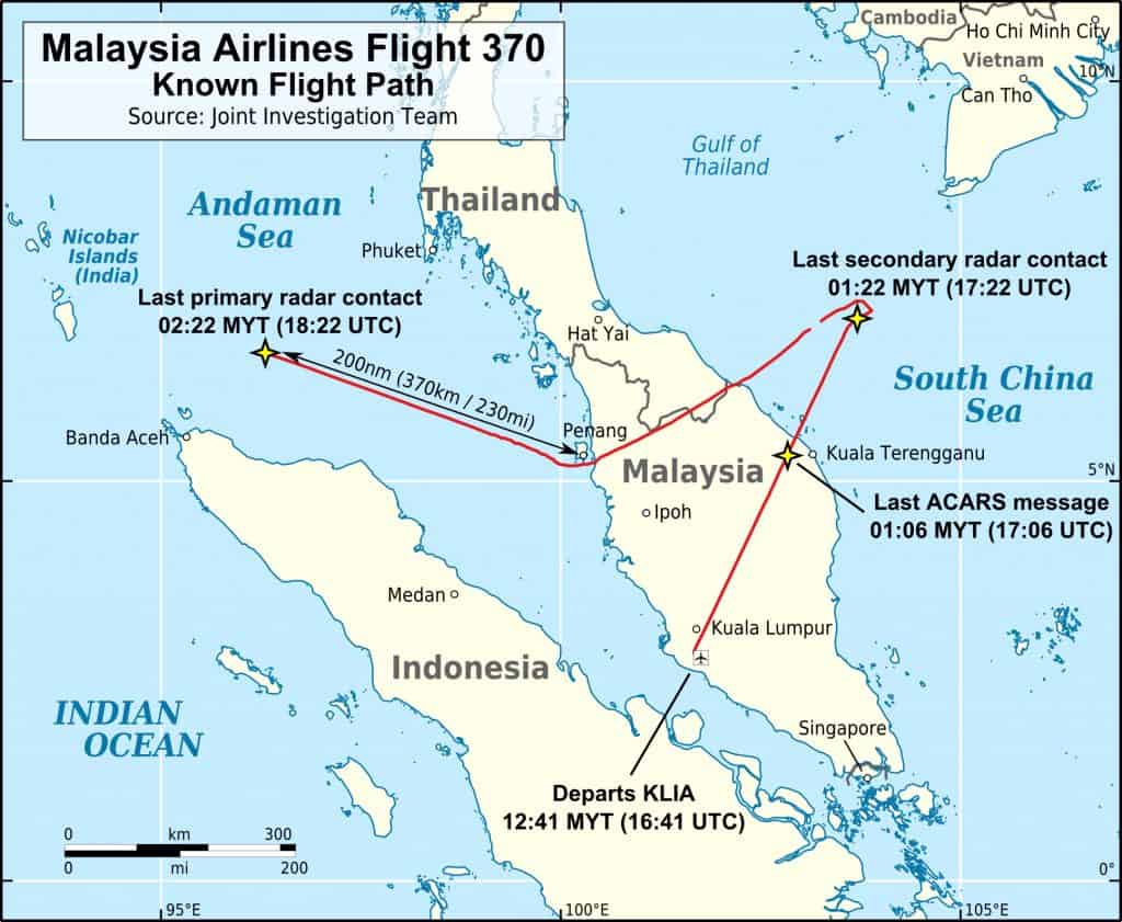 MH370 Flight Path With English Labels
