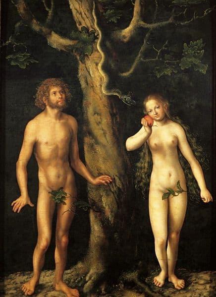 Cranach, Adam en Eva worden verleidt door slang